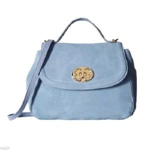 EMMA FOX LIGHT BLUE SUEDE SATCHEL BAG